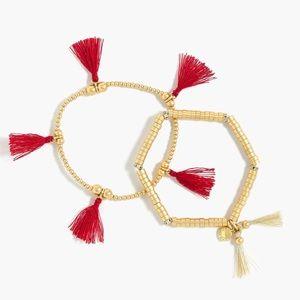 J.Crew Cerise Bead & Tassel Bracelet Set